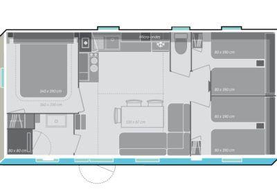 Stacaravan Premium 32 m² 3 slaapkamers 7 personen