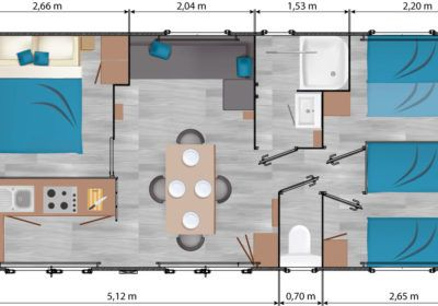 Plan Mobil-home Luxe 7 personnes